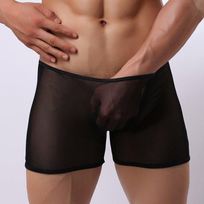 #E014 Sexy men's underwear 3pcs black mesh transparent seamless boxer shorts
