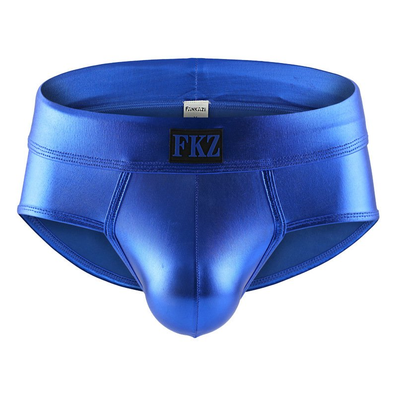 Men's sexy underwear 3pcs faux leather metallics blue briefs #FA5006SJ