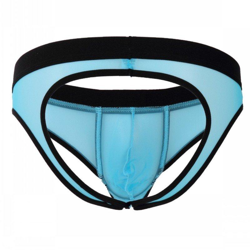 Cut-out briefs blue 3pcs gay men's sexy mesh guaze underwear underpants #2003SH