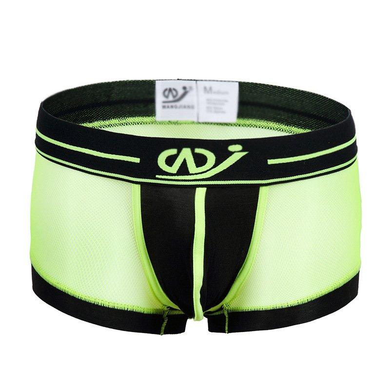Light green 3pcs Men's sexy underwear mesh gauze boxer briefs #2017PJ