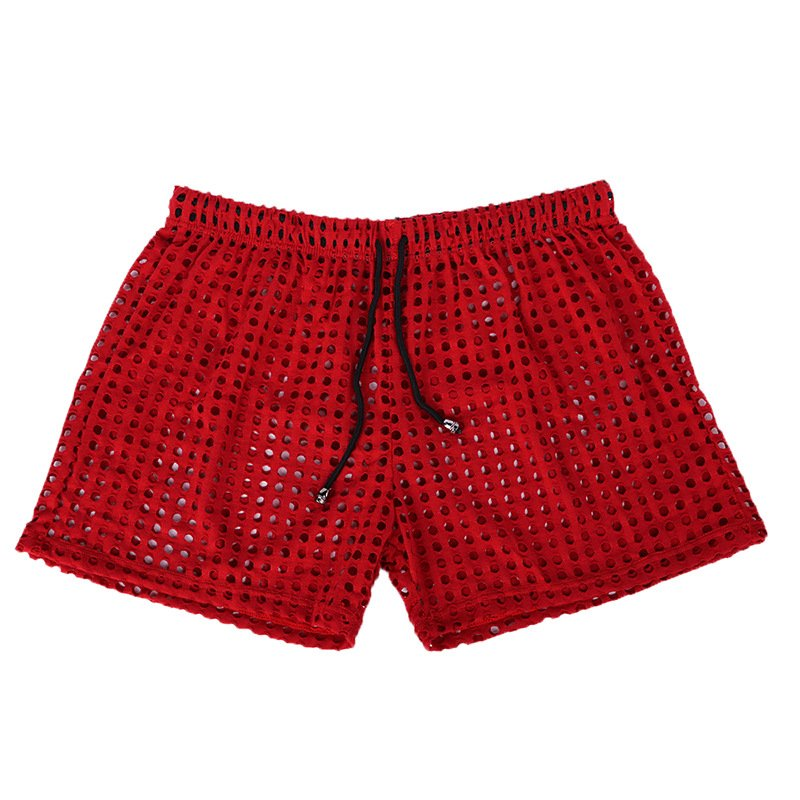 Red Sexy men's clothing sheer perforated holes shorts sleep bottoms #110