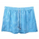 White Sexy men's clothing sheer perforated holes shorts sleep bottoms #110