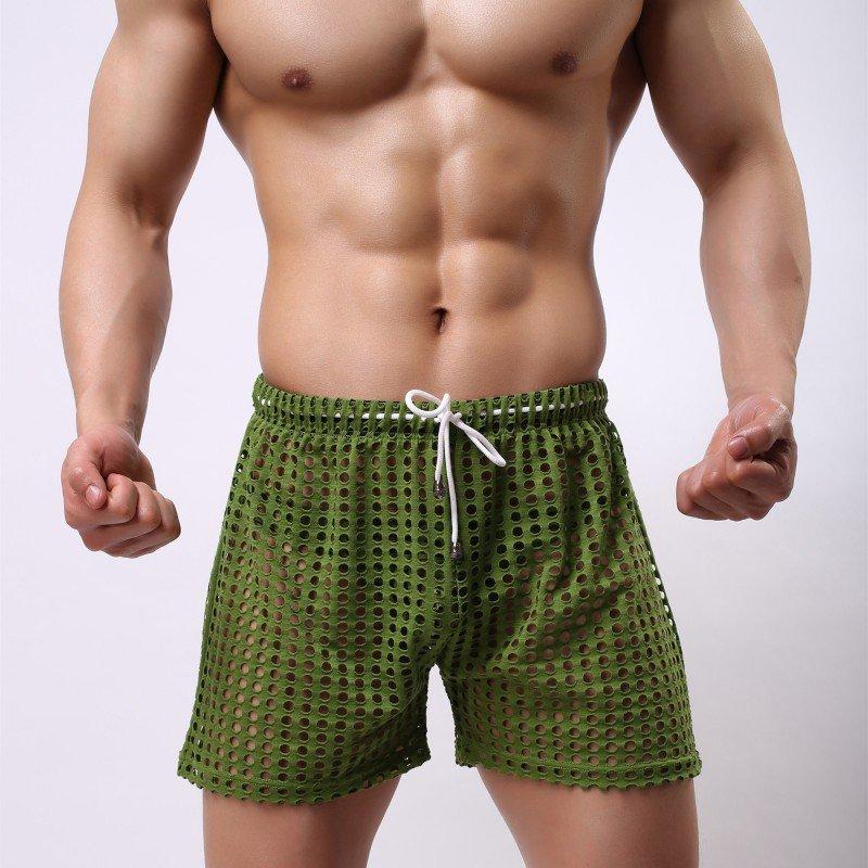 Green Sexy men's clothing sheer perforated holes shorts sleep bottoms #110