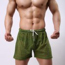 Green Sexy men's clothing sheer perforated holes shorts sleep bottoms #110