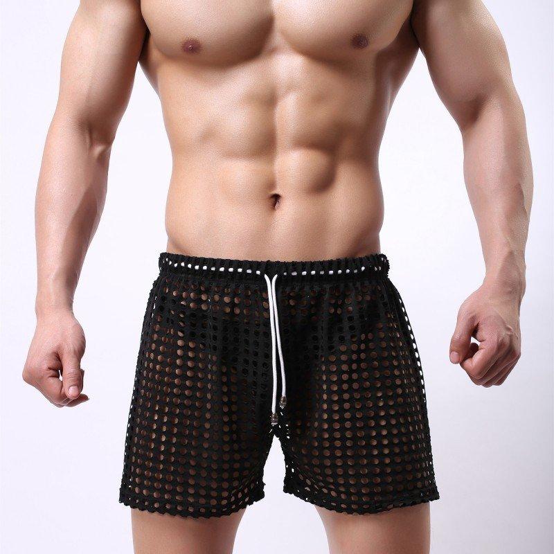 Black Sexy men's clothing sheer perforated holes shorts sleep bottoms #110