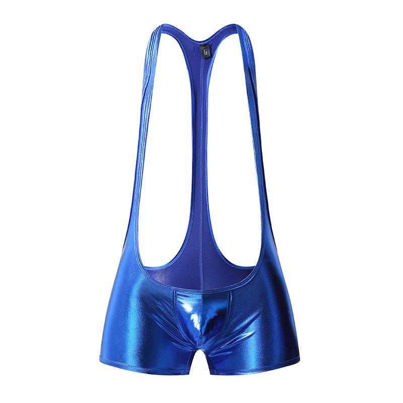 Blue Faux Leather Men's sexy underwear fitness bodysuit Wrestling singlet leotard #1045LT