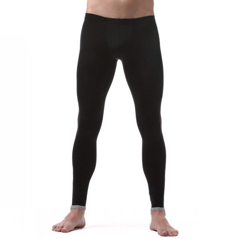 Men's sexy underwear extra-thin ice silky sleep bottoms lounge pants Black #VS007QK
