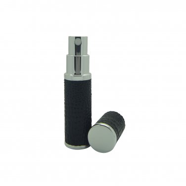 Black Leather Refillable Perfume Travel Atomisers boxed