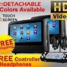 "2018 BLACK DUAL 9"" DIGITAL TOUCHSCREEN HEADREST DVD PLAYER MONITORS HEADPHONES"