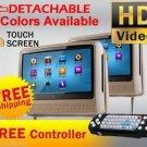 "TAN DUAL 9"" DIGITAL TOUCHSCREEN HEADREST DVD PLAYER MONITORS MONITORS HEADPHONES"