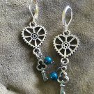 Steampunk silver tone earrings