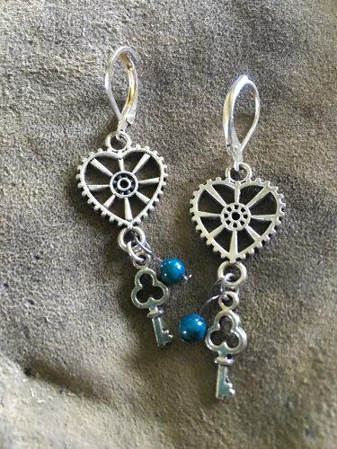 Steampunk silver tone earrings