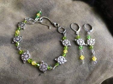 Sunflower bracelet and earrings set