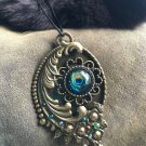 Peacock cabochon statement pendant necklace #1