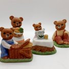 "Homco ""Bears Enjoying A Picnic"" Ceramic Figurine Complete Set"