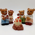 """Vintage Homco Ceramic Camping Bears """"Roasting Over The Campfire"""" Complete Set"""