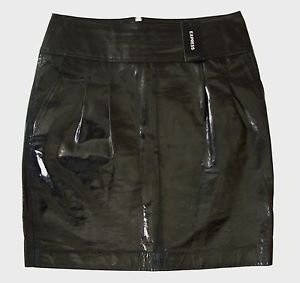 Black Patent Leather SKIRT w/ lining by EXPRESS US Women's Size 4 RRP $128 BNWT