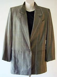 WOMEN'S KASPER BLAZER Size 6 ~ Gray with thin White Black Plaid pattern EXCELLNT