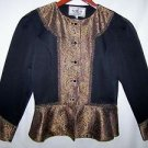 WOMEN'S NSP TOP Longsleeve LS Button BLACK GOLDEN BROWN Shortcrop Sz 6 Petite 6P