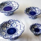 "Lot 4 CERAMIC PLATTER w/ STAND Thai Asian Blue White PLATE 3"" 4"" 5"" 6"" MICROWAVE"