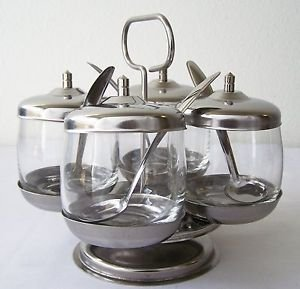 CONDIMENT CADDY Set GLASS & STAINLESS STEEL Revolves FOUR Jars Lids Spoons +Base