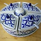 CERAMIC Condiment Tray THAI Asian 4 Containers 4 LIDS 4 Spoons + Shaker MODERN