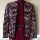 WOMEN'S WORTHINGTON BLAZER Burgundy Black & White Sz 6 Six PETITE 6P Stylish EXC