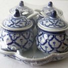 CERAMIC Condiment Tray SET Sauce 4 Containers/Spoons/Lids +Base Thai TRADITIONAL