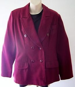 WOMEN'S Charlotte BLAZER Sz. S Double Breasted Red Wine color ~ Wool & Polyester