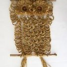 OWL Wall Hanging DECOR Wood TWINE Thick String BROWN 37-inch Decorative Display