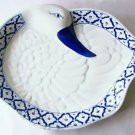 "CERAMIC Duck Shaped PLATTER Thai Asian Blue & White PLATE 12.8"" x 10"" MICROWAVE"
