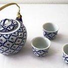 ASIAN Ceramic TEAPOT & TEA CUPS SET 1 Teapot + 4 Tea Cups BLUE WHITE Handpainted