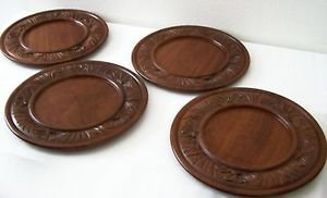 WOODEN PLATE x4 Wood Platter GORGEOUS SET of 4 Floral Motif Handcarved GUATEMALA