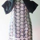 Girls Juniors MINI DRESS Semi-formal Black & White Floral w/ 2 Black Satin Bows