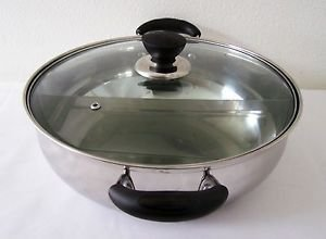"11.8"" Stainless Steel 2-Way Asian HOT POT 2-Part SHABU SHABU Glass Lid Vent Hole"