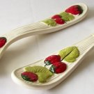"16"" CERAMIC FORK SPOON DECOR Wall Hanging STRAWBERRY FRUIT Leaves Strawberries"
