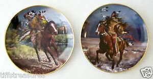NATIVE AMERICAN 2 Plate Lot Collectible Porcelain CHARGING + TRIUMPHANT WARRIOR