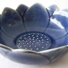 "CERAMIC BOWL Blue Lotus Flower THAI ASIAN 7"" Diameter 2.5"" Height MICROWAVE SAFE"
