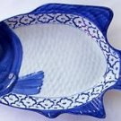 "CERAMIC Perch Fish Shaped PLATE Thai Asian Blue White PLATTER 15.5""x8"" MICROWAVE"