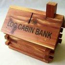 Log Cabin PIGGY BANK Cedar Wood Coin Souvenir Wooden Cottage Lodge Realistic NEW