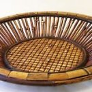 Bamboo BASKET Shallow - Brown Hand Woven 15.5 inch Diameter & 2.6 inches Height