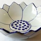 "CERAMIC BOWL Lotus Flower Thai Asian Blue & White Thailand 5"" Diameter MICROWAVE"