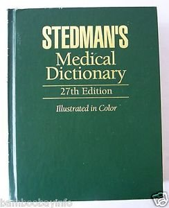 STEDMAN'S MEDICAL DICTIONARY 27th Edit HARDCOVER ILLUSTRATED Reference Book VrGd