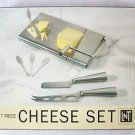 7 PIECE SET of CHEESE KNIVES Gift Linens N Things : Picks Forks Knives Board NEW