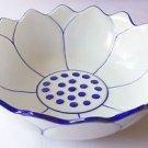 "CERAMIC BOWL Lotus Flower THAI ASIAN Blue & White THAILAND 8"" Diameter MICROWAVE"