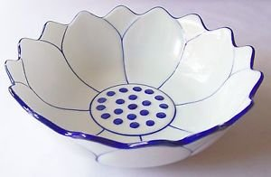 "CERAMIC BOWL Lotus Flower THAI ASIAN Blue & White THAILAND 8"" Diameter MICROWAVE"