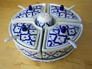 CERAMIC Condiment Tray x2 THAI Asian 4 Containers 4 LIDS 4 Spoons Shaker MODERN