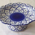 "CERAMIC PLATTER w/ STAND Asian Blue & White Imported PLATE 8"" Diameter MICROWAVE"