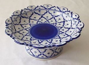 """CERAMIC PLATTER w/ STAND Asian Blue & White Imported PLATE 8"""" Diameter MICROWAVE"""
