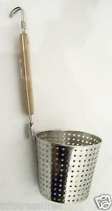 NOODLE SKIMMER w/ WOOD HANDLE Cup Shaped DIPPER Sifter STRAINER Stainless Steel